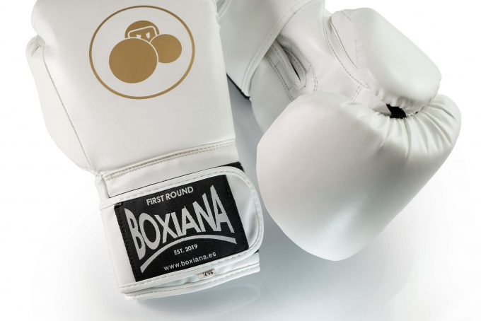 guantes boxeo blanco dorado